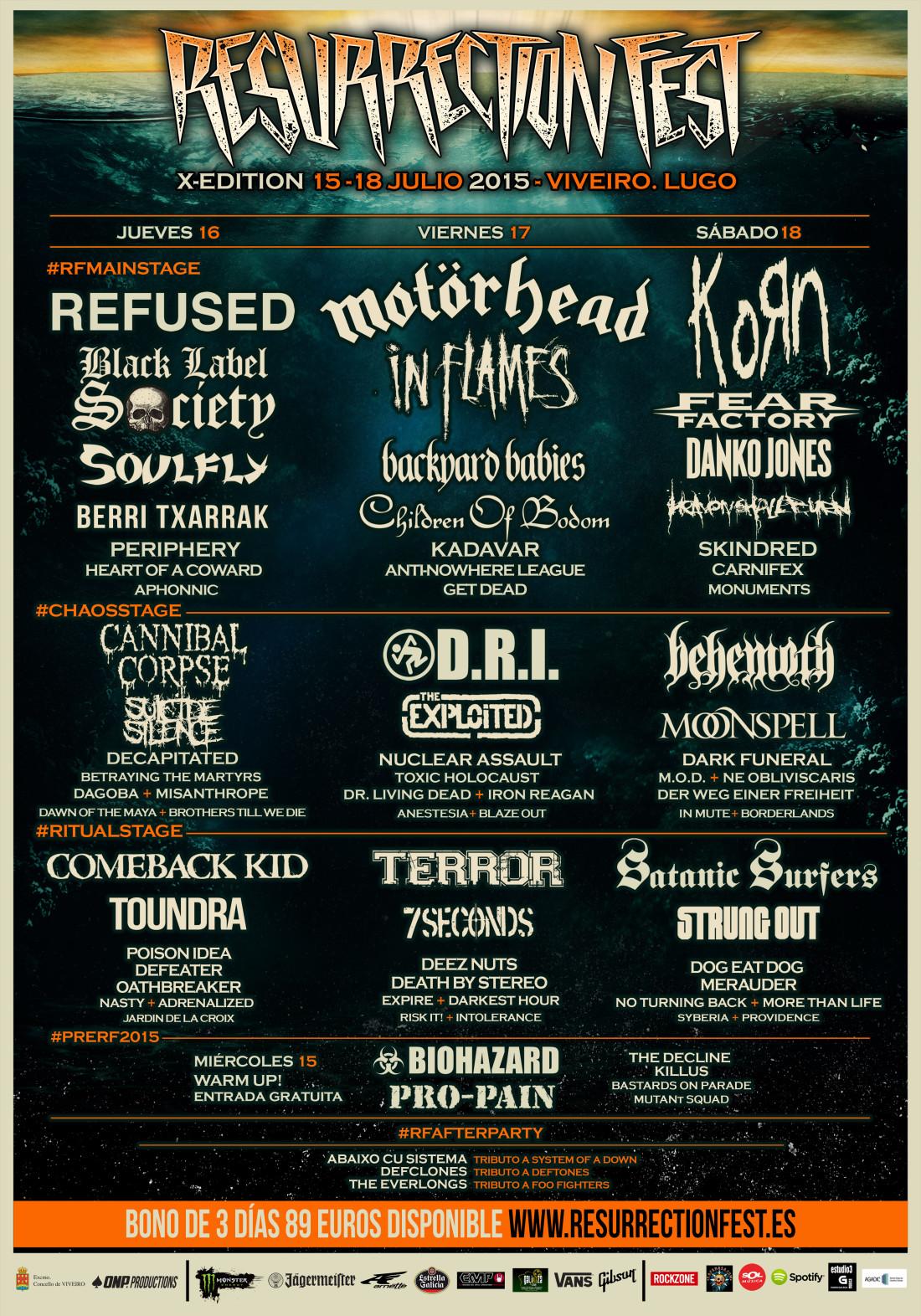Cartel completo por días Resurrection Fest 2015
