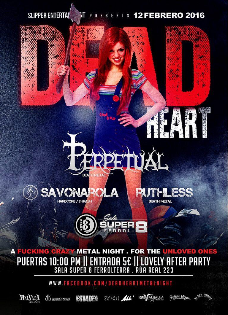 Cartel y detalles de la Dead Heart Metal Night, 12 de febrero en Ferrol
