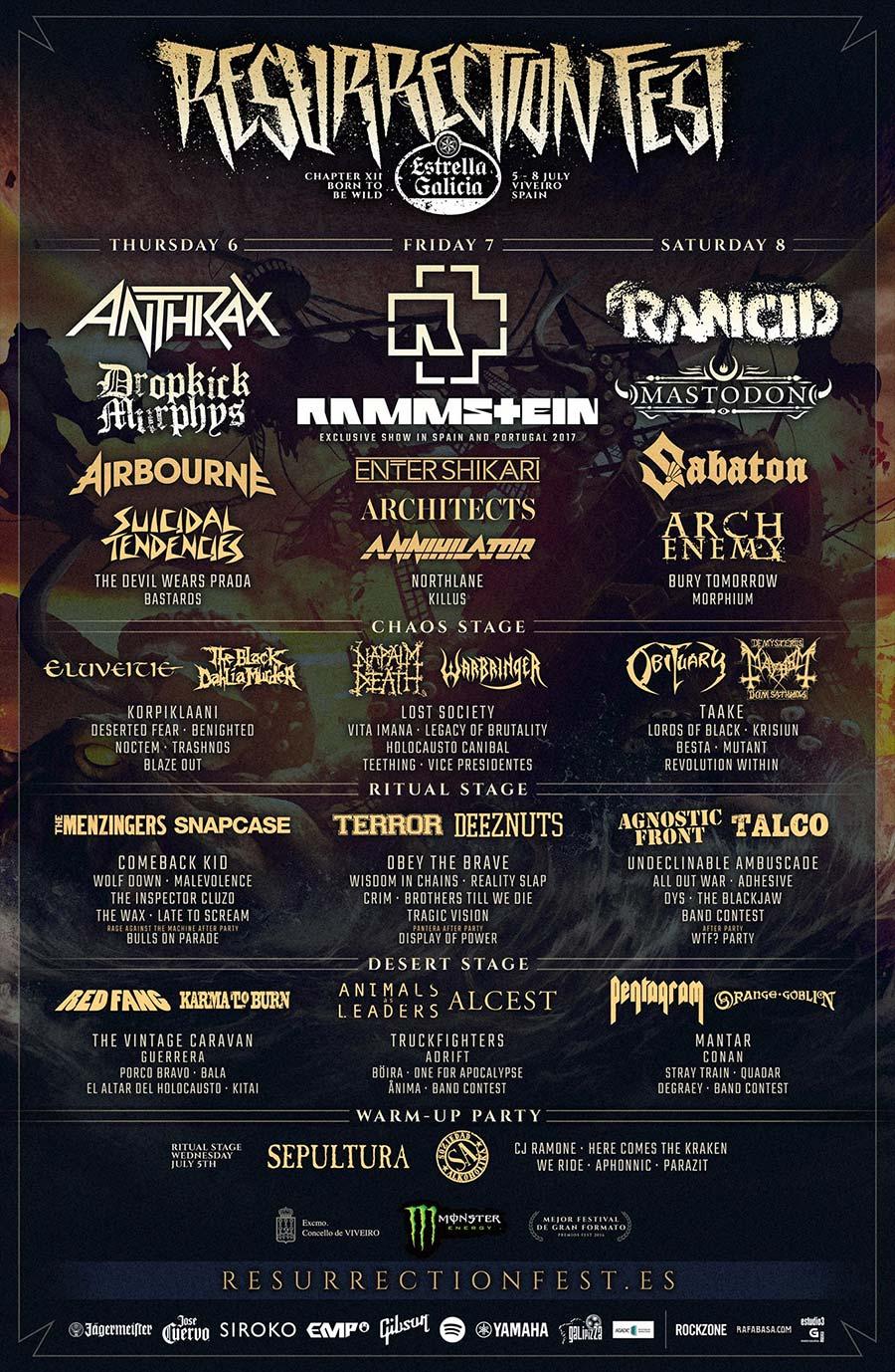 Cartel completo y horarios finales del Resurrection Fest 2017
