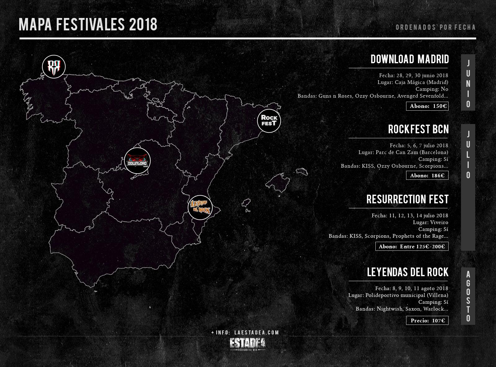 calendario de festivales metaleros para el verano de 2018